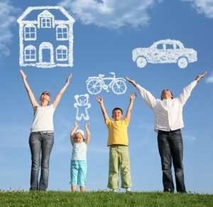 семья желает дом, машину, велосипед и игрушку